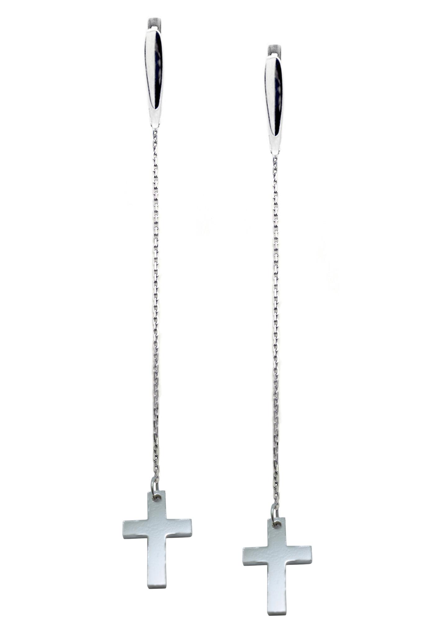Длинные серебряные серьги