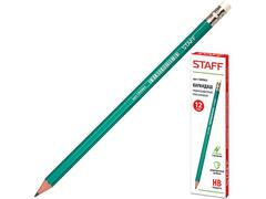 180963 карандаш ч/гр, пластик, заточенный, с рез. (12шт.)
