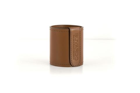 Кожаный стакан для ручек и карандашей Н10 см кожа Cuoietto цвет табак.