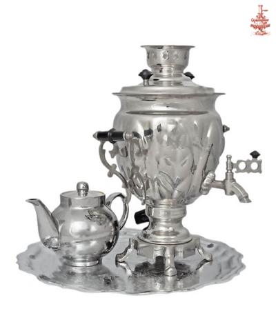 Самовар Желудь 3л никель электрический в наборе с заварочным чайником и подносом