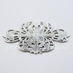 Винтажный декоративный элемент - штамп 57х41 мм (оксид серебра)