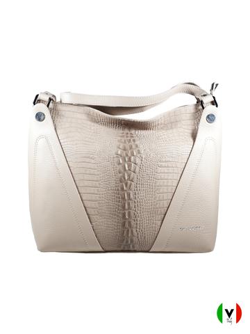 Мягкая сумка Di Gregorio с крокодиловой вставкой 8681-beige, артикул 8681-beige, цвет чёрный, цена 13 500 руб., veroitaly.ru