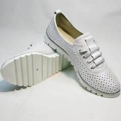 Туфли на шнурках женские летние Mi Lord 2007 White-Pearl.