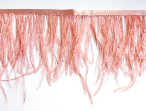 Тесьма  из перьев страуса h 10-15 см., фламинго