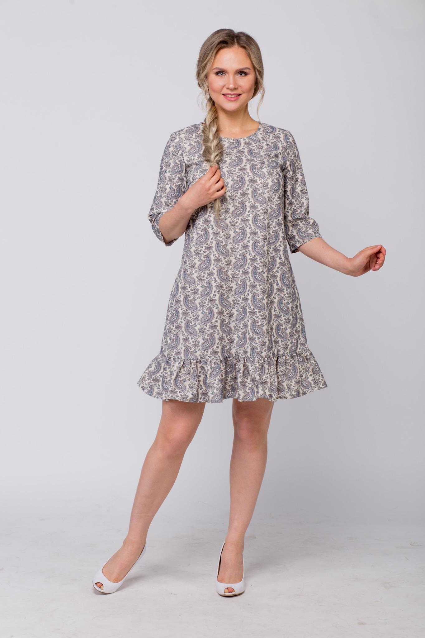 Платье льняное Огурцы