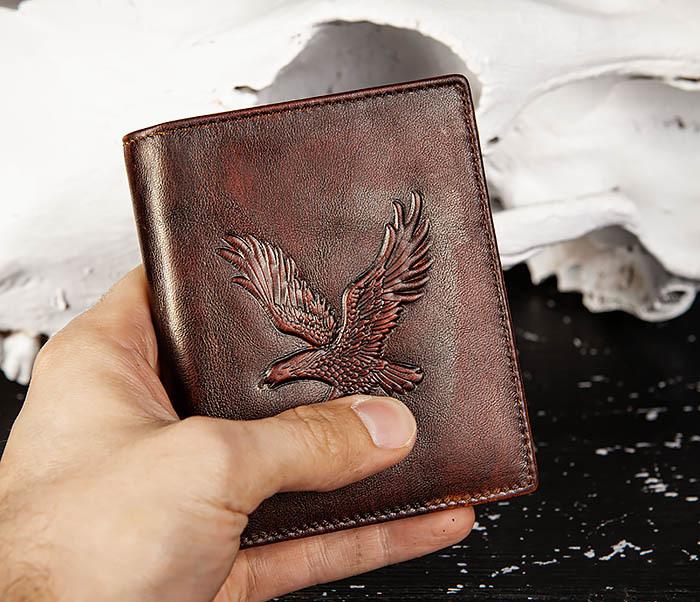 WL327-2 Кошелек с орлом из натуральной кожи фото 09