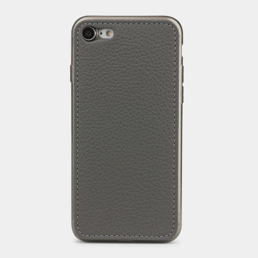 Чехол-накладка для iPhone 8 из натуральной кожи теленка, серого цвета