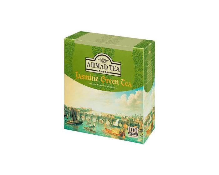 Чай зеленый с жасмином в пакетиках Ahmad Jasmine Tea, 100 пак/уп (Ахмад)