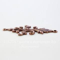 Винтажный декоративный элемент - коннектор (1-1) 40х18 мм (оксид меди)