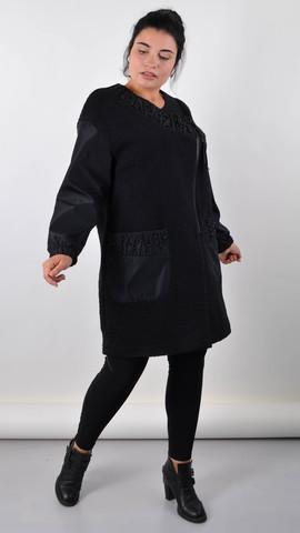 Жанін. Пальто для осені великого розміру. Чорний.