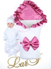 Демисезонный набор на выписку Фирменный (белый/розовый)