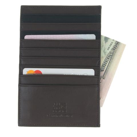 Тонкий кожаный коричневый кошелёк кредитница с отделениями для 9 карт купюр и мелочи из натуральной кожи GALIB R-179