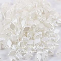 Бусина DiamonDuo mini Ромб с 2 отверстиями, 6х4 мм, белая перламутровая