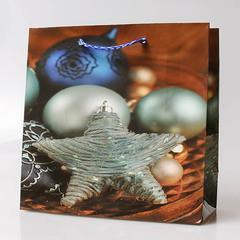 Пакет новогодний подарочный 16х16х7-10
