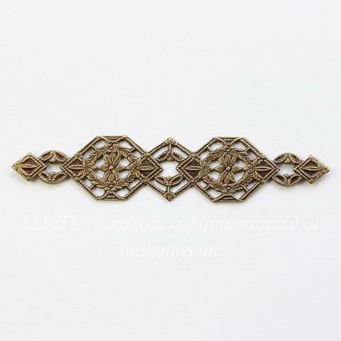 Винтажный декоративный элемент - филигрань 53х11 мм (оксид латуни)