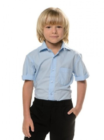 Tsarevcth Рубашка для мальчика с коротким рукавом голубая