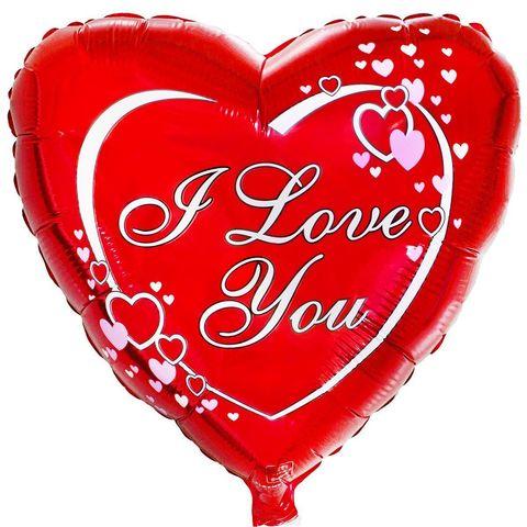 Шар Сердце с сердечками на красном фоне I Love You