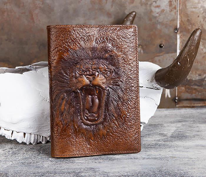 BC195 Кожаный ежедневник с изображением льва, ручная работа (A5)