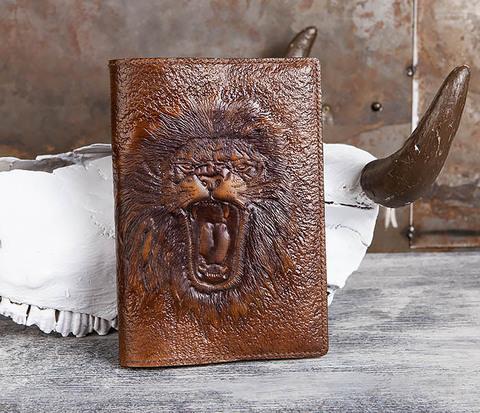 Ежедневник с изображением льва, ручная работа (A5)