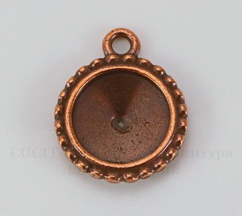 """Сеттинг - основа - подвеска TierraCast """"Узор"""" для страза 12 мм (цвет-античная медь)"""