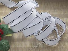 Лента репсовая Белая со строчками ширина 22 мм