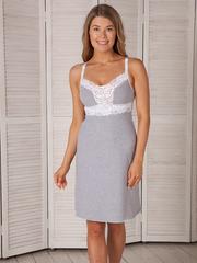 Vivamama. Сорочка для беременных и кормящих Melissa серый меланж