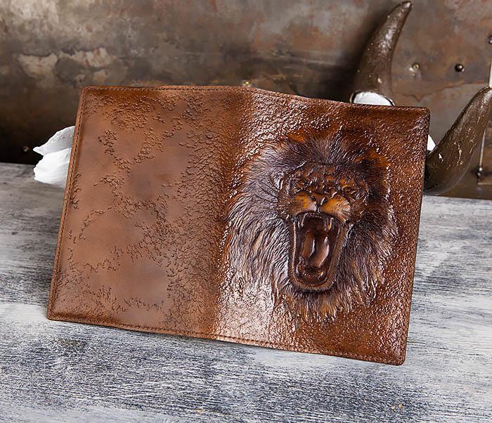 BC195 Кожаный ежедневник с изображением льва, ручная работа (A5) фото 02