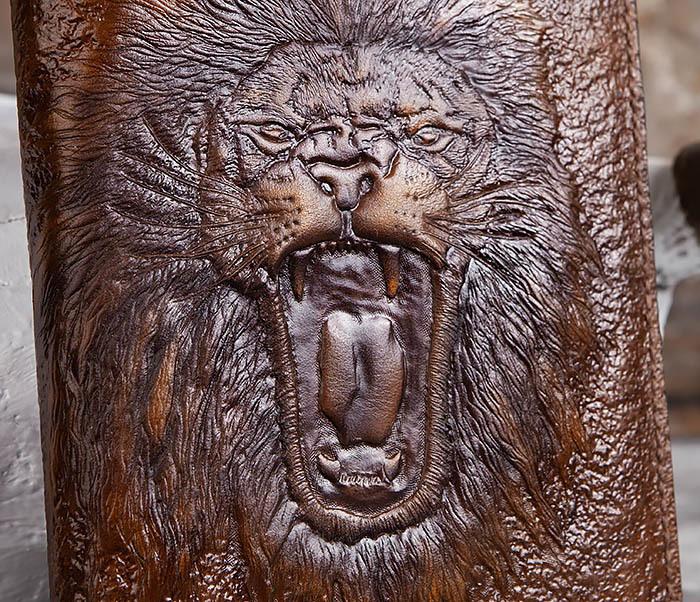 BC195 Кожаный ежедневник с изображением льва, ручная работа (A5) фото 03