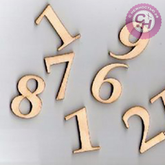 Цифры, 3 мм, дерево, высота 3 см (микс), 1 шт.