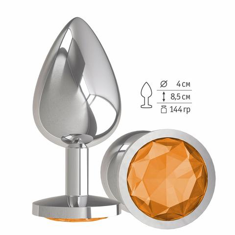 Анальная втулка Silver с оранжевым кристаллом большая фото