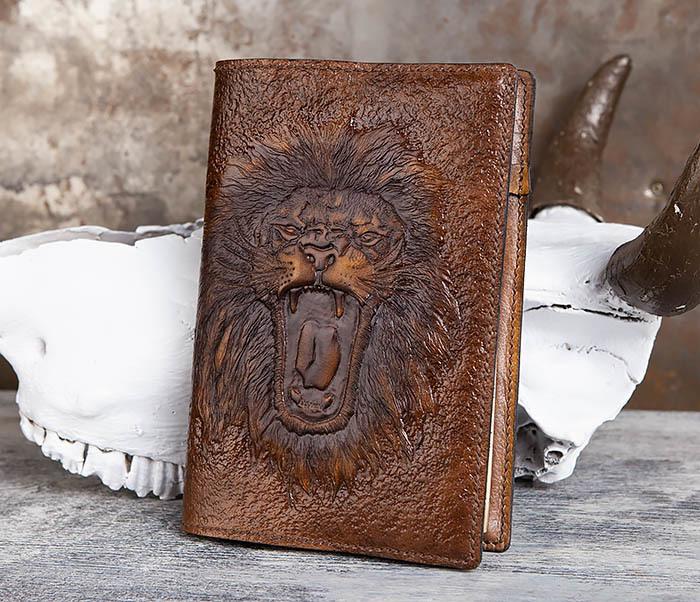 BC195 Кожаный ежедневник с изображением льва, ручная работа (A5) фото 04
