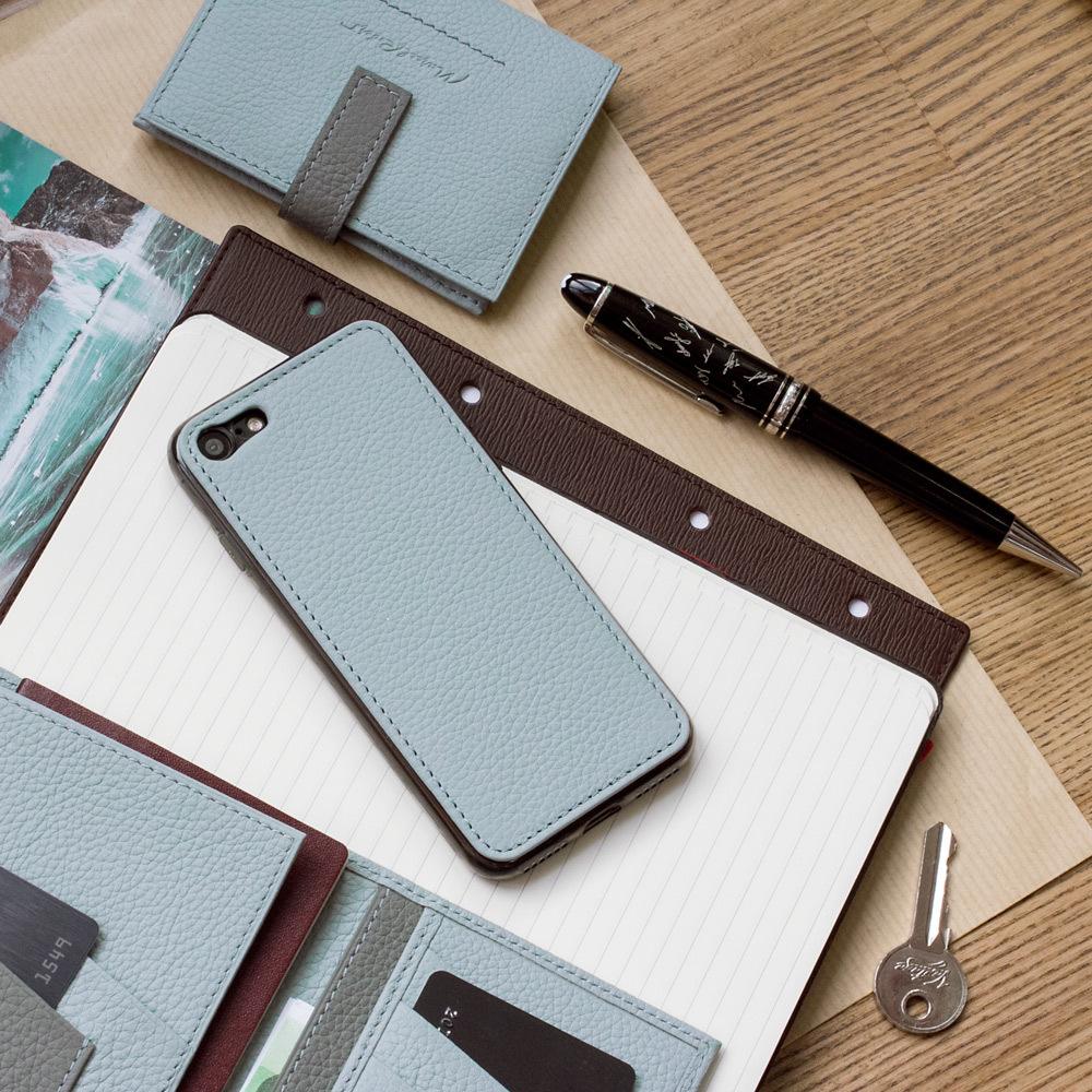Чехол-накладка для iPhone 8 из натуральной кожи теленка, голубого цвета