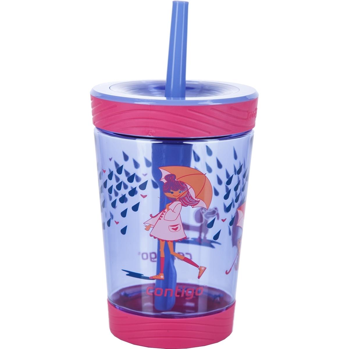 Стакан детский для воды с трубочкой Contigo Spill Proof Tumbler (0,42 литра), розовый