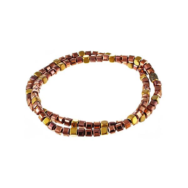 Браслет мужской золото-красный на два оборота из камня гематита JV TOE-676-60136