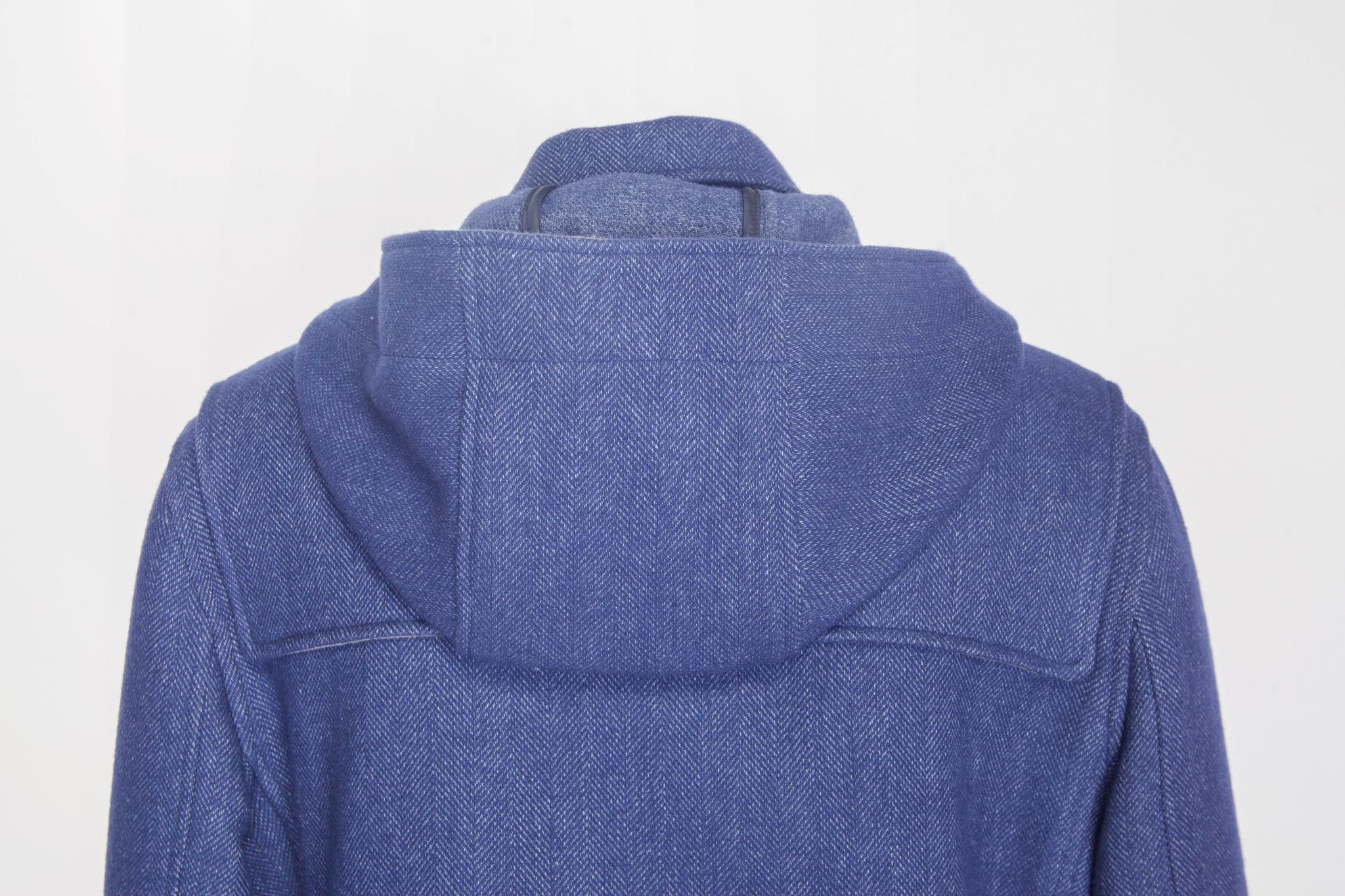 Повседневное синее шерстяное пальто, капюшон