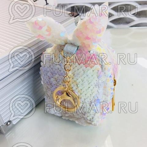 Ключница-брелок-кошелек для мелочи с пайетками меняющая цвет Перламутровая-Белая Зайка
