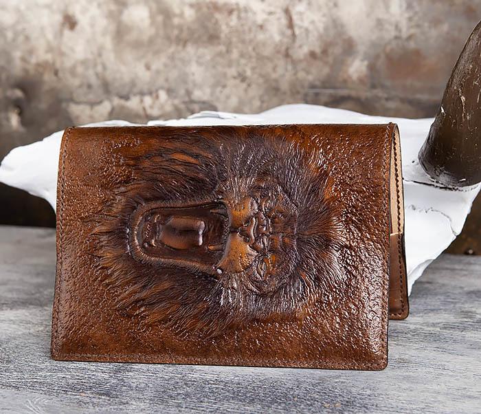 BC195 Кожаный ежедневник с изображением льва, ручная работа (A5) фото 06