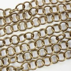 Винтажная цепь текстурная с круглым звеном 10 мм (античное золото), 10 см