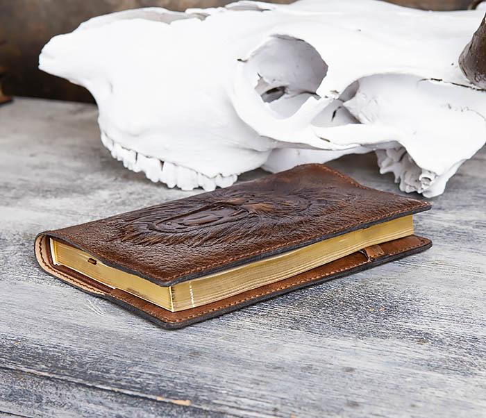 BC195 Кожаный ежедневник с изображением льва, ручная работа (A5) фото 07