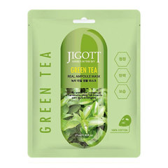 Jigott Green Tea Real Ampoule Mask - Тканевая ампульная маска с зеленым чаем