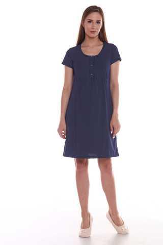 Мамаландия. Сорочка для беременных и кормящих с кнопками короткий рукав большие размеры, темно-синий/горох