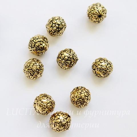 """Бусина - шарик TierraCast """"Цветы"""" 8 мм (цвет-античное золото)"""