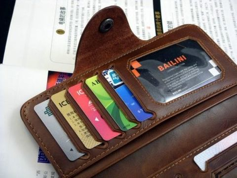 Mens Brown Leather Long Wallet №3