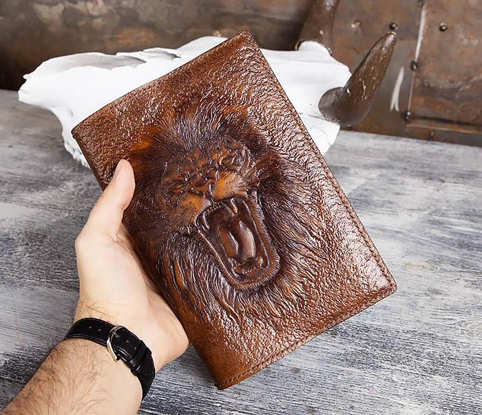BC195 Кожаный ежедневник с изображением льва, ручная работа (A5) фото 08