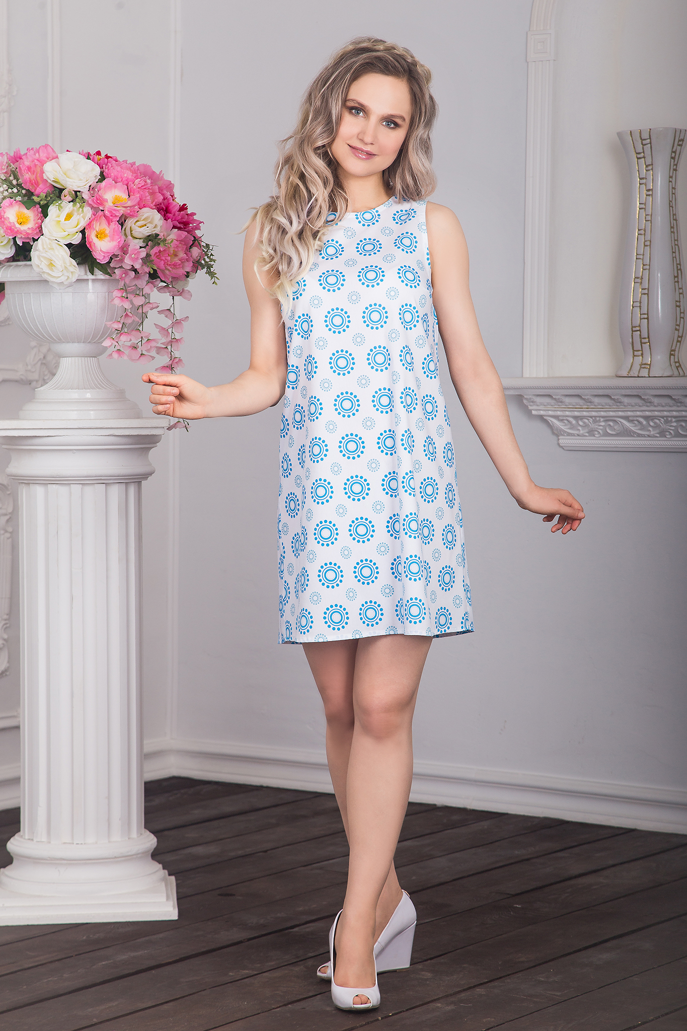 Платье хлопковое Дымковская игрушка (лазурные горошины)