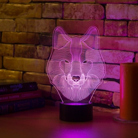 3D лампа Волк