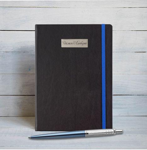 Набор с гравировкой: Блокнот и Шариковая ручка Parker Jotter Essential, Waterloo Blue CT