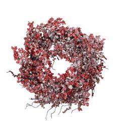 Венок с ягодами 50см House of Seasons красный в снегу
