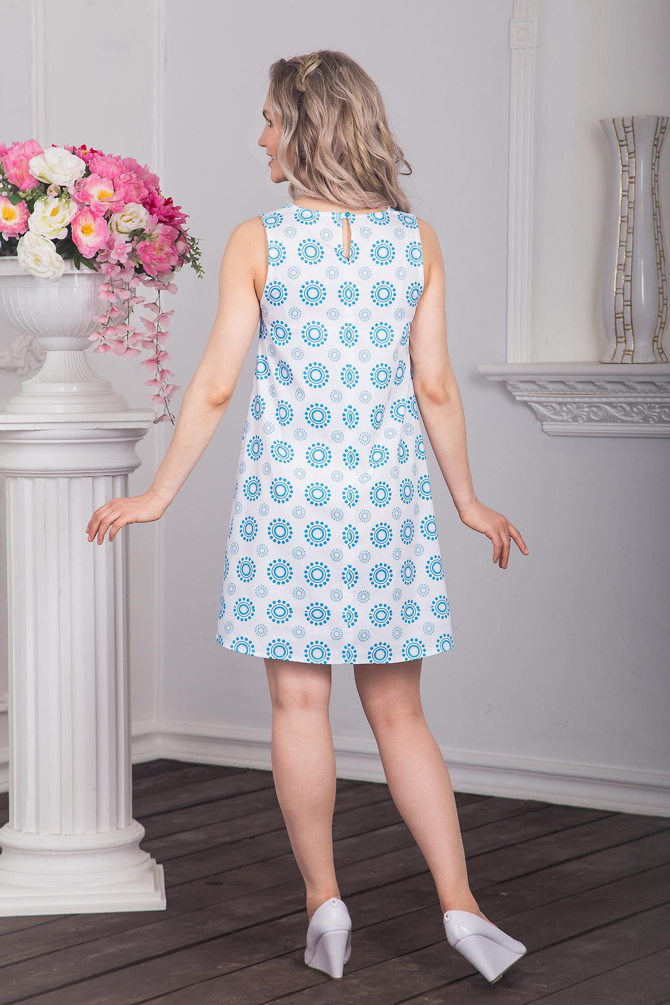 Платье хлопковое Дымковская игрушка (лазурные горошины) вид сзади