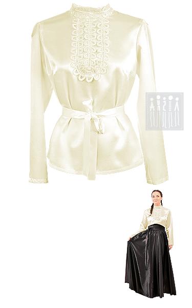 Купить женскую блузку  в русском стиле. Изделие выполнено из креп-сатина. Воротничок-стойка и перед блузки украшены ажурной декоративной тесьмой.